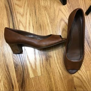 Franco Sarto Brown Leather Peep Toe Stacked Heel 7